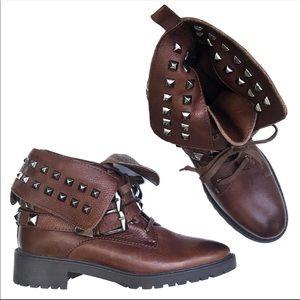 ZARA WOMEN Brown Grommet Folded Buckle Boots Sz 37